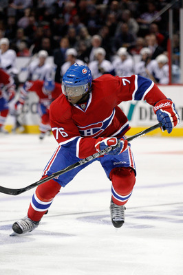 MONTREAL- OCTOBER 13:  P.K. Subban #76 of the Montreal Canadiens skates during the NHL game against the Tampa Bay Lightning at the Bell Centre on October 13, 2010 in Montreal, Quebec, Canada.   The Lightning defeated the Canadiens 4-3 in overtime.  (Photo