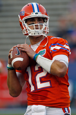 GAINESVILLE, FL - OCTOBER 09: Quarterback John Brantley #12 of the Florida Gators throws a pass prior to the game against the Louisiana State University Tigers at Ben Hill Griffin Stadium on October 9, 2010 in Gainesville, Florida.  (Photo by Sam Greenwoo