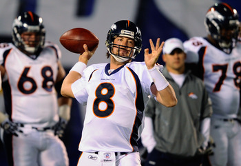 SAN DIEGO - NOVEMBER 22:  Quarterback Kyle Orton #8 of the Denver Broncos throws a pass during warm up before the start of the game against San Diego Chargers at Qualcomm Stadium on November 22, 2010 in San Diego, California.  Chargers defeated the bronco