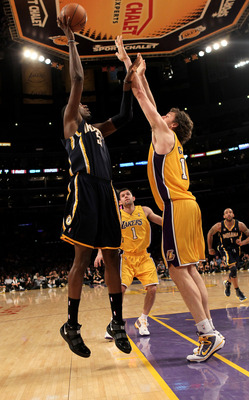 LOS ANGELES - MARCH 2:  Roy Hibbert #55 of the Indiana Pacers shoots over Pau Gasol #16 of the Los Angeles Lakers on March 2, 2010 at Staples Center in Los Angeles, California. The Lakers won 122-99.  NOTE TO USER: User expressly acknowledges and agrees t