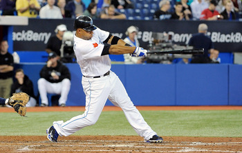 TORONTO, ON - SEPTEMBER 22: Vernon Wells #10 of the Toronto Blue Jays take a swing at this pitch during a game against the Seattle Mariners on September 22, 2010 at the Rogers Centre in Toronto, Canada. (Photo by Matthew Manor/Getty Images)