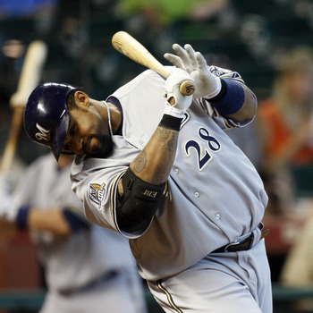 HOUSTON - SEPTEMBER 15:  Prince Fielder #28 of the Milwaukee Brewers avoids a high pitch inside thown by J.A. Happ of the Houston Astros at Minute Maid Park on September 15, 2010 in Houston, Texas.  (Photo by Bob Levey/Getty Images)