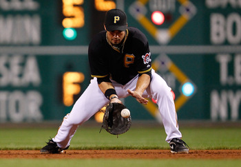 PITTSBURGH - SEPTEMBER 21:  Garrett Jones #46 of the Pittsburgh Pirates fields a ground ball during the game against the St Louis Cardinals on September 21, 2010 at PNC Park in Pittsburgh, Pennsylvania.  (Photo by Jared Wickerham/Getty Images)