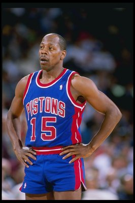 1989:  Guard Vinnie Johnson of the Detroit Pistons relaxes during a game. Mandatory Credit:Tim DeFrisco  /Allsport