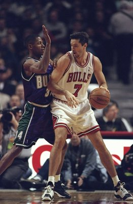 23 Feb 1999:  Toni Kukoc #7 of the Chicago Bulls in action during the game against the Milwaukee Bucks at the United Center in Chicago, Illinois. The Bucks defeated the Bulls 96-88.   Mandatory Credit: Jonathan Daniel  /Allsport