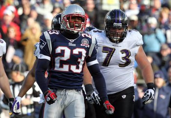 FOXBORO, MA - JANUARY 10:  Leigh Bodden #23 of the New England Patriots reacts against the Baltimore Ravens during the 2010 AFC wild-card playoff game at Gillette Stadium on January 10, 2010 in Foxboro, Massachusetts.  (Photo by Jim Rogash/Getty Images)