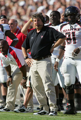 COLLEGE STATION, TX -SEPTEMBER 30:  Head coach Mike Leach of the Texas Tech Red Raiders watches the action from the sidelines during the game against the Texas A&M Aggies at Kyle Field on September 30, 2006 in College Station, Texas. (Photo by Ronald Mart