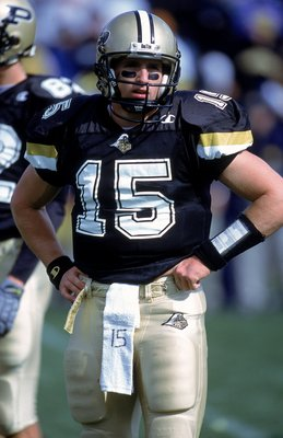 7 Oct 2000: Quarterback Drew Brees #15 of the Purdue Boilermakers looks on the field during the game against the Michigan Wolverines at the Ross-Ade Stadium in West Lafayette, Indiana.  The Boilermakers defeated the Wolerines 23-22.Mandatory Credit: Jonat