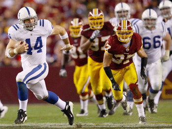 LANDOVER, MD - OCTOBER 17: Dallas Clark #44 of the Indianapolis Colts picks up yards after a reception against the Washington Redskins at FedExField on October 17, 2010 in Landover, Maryland. The Colts won the game 27-24.  (Photo by Win McNamee/Getty Imag
