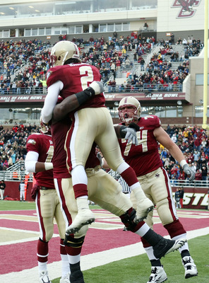 CHESTNUT HILL, MA - OCTOBER 17:  Montel Harris #2 of the Boston College Eagles celebrates his touchdown with Thomas Claiborne #78 and Anthony Castonzo #74 in the first half against the North Carolina State Wolfpack on October 17, 2009 at Alumni Stadium in