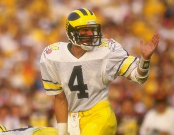 1 Jan 1987: Jim Harbaugh #4 of Michigan during their 22-15 loss to Arizona State at the Rose Bowl in Pasadena, California. Mandatory Credit: Mike Powell  /Allsport