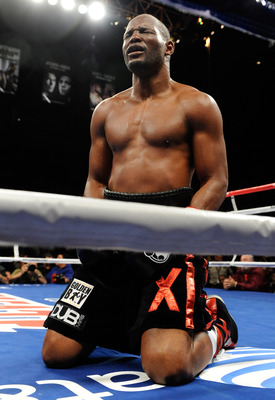 LAS VEGAS - APRIL 03:  Bernard Hopkins tries to get up from an apparent low blow from Roy Jones Jr. during the 10th round of their light heavyweight bout at the Mandalay Bay Events Center April 3, 2010 in Las Vegas, Nevada. Hopkins won by unanimous decisi