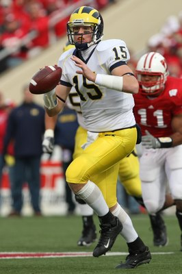 MADISON - NOVEMBER 10:  Ryan Mallett #15 of the Michigan Wolverines looks to pass during the game against the Wisconsin Badgers at Camp Randall Stadium on November 10, 2007 in Madison, Wisconsin. (Photo by Jonathan Daniel/Getty Images)