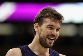 PHOENIX - NOVEMBER 05:  Marc Gasol #33 of the Memphis Grizzlies laughs during the NBA game against the Phoenix Suns at US Airways Center on November 5, 2010 in Phoenix, Arizona. NOTE TO USER: User expressly acknowledges and agrees that, by downloading and