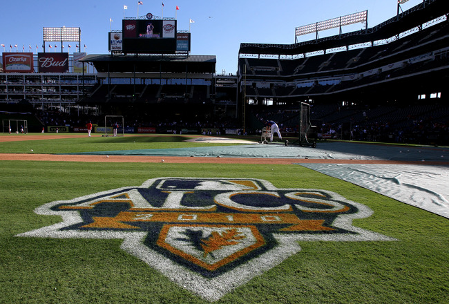 ARLINGTON, TX - OCTOBER 15:  A detail of the ALCS logo is seen on the grass prior to the New York Yankees playing against the Texas Rangers in Game One of the ALCS during the 2010 MLB Playoffs at Rangers Ballpark in Arlington on October 15, 2010 in Arling