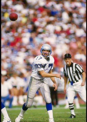 25 Oct 1987: Quarterback Dave Krieg of the Seattle Seahawks passes the ball during a game against the Los Angeles Raiders at the Los Angeles Memorial Coliseum in Los Angeles, California. The Seahawks won the game, 35-13.