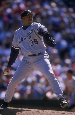 31 Mar 1998:  Pitcher Jamie Navarro of the Chicago White Sox in action during a game against the Texas Rangers at The Ball Park in Arlington, Texas. The White Sox defeated the Rangers 8-2. Mandatory Credit: Stephen Dunn  /Allsport