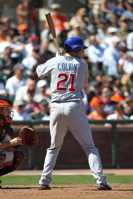 SAN FRANCISCO - AUGUST 12:  Tyler Colvin #21 of the Chicago Cubs bats against the San Francisco Giants during an MLB game at AT&T Park on August 12, 2010 in San Francisco, California.  (Photo by Jed Jacobsohn/Getty Images)