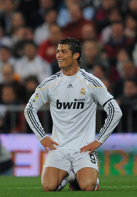 MADRID, SPAIN - APRIL 10: Cristiano Ronaldo of Real Madrid reacts during the La Liga match between Real Madrid and Barcelona at the Estadio Santiago Bernabeu on April 10, 2010 in Madrid, Spain.  (Photo by Denis Doyle/Getty Images)