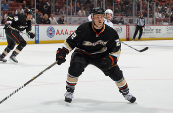 ANAHEIM, CA - NOVEMBER 19:  Todd Marchant #22 of the Anaheim Ducks skates against the Columbus Blue Jackets at the Honda Center on November 19, 2010 in Anaheim, California. The Blue Jackets defeated the Ducks 4-3.  (Photo by Jeff Gross/Getty Images)