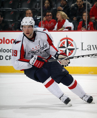 NEWARK, NJ - NOVEMBER 22:  David Steckel #39 of the Washington Capitals skates against the New Jersey Devils at the Prudential Center on November 22, 2010 in Newark, New Jersey. The Devils defeated the Capitals 5-0.  (Photo by Bruce Bennett/Getty Images)