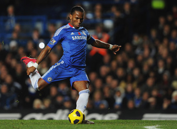 LONDON, ENGLAND - NOVEMBER 14:  Didier Drogba of Chelsea shoots during the Barclays Premier League match between Chelsea and Sunderland at Stamford Bridge on November 14, 2010 in London, England.  (Photo by Michael Regan/Getty Images)