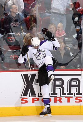 GLENDALE, AZ - OCTOBER 21:  Wayne Simmonds #17 of the Los Angeles Kings celebrates after scoring a second period goal against the Phoenix Coyotes during the NHL game at Jobing.com Arena on October 21, 2010 in Glendale, Arizona.  (Photo by Christian Peters