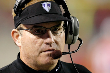 LAS VEGAS - OCTOBER 30:  Texas Christian University Horned Frogs head coach Gary Patterson looks on as his team takes on the UNLV Rebels at Sam Boyd Stadium October 30, 2010 in Las Vegas, Nevada. TCU won 48-6.  (Photo by Ethan Miller/Getty Images)