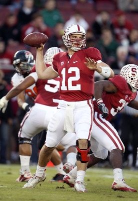 PALO ALTO, CA - NOVEMBER 27:  Andrew Luck #12 of the Stanford Cardinal passes the ball against the Oregon State Beavers at Stanford Stadium on November 27, 2010 in Palo Alto, California.  (Photo by Ezra Shaw/Getty Images)