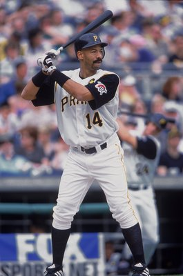 6 May 2001:  Derek Bell #14 of the Pittsuburgh Pirates at bat during the game against the Colorado Rockies at PNC Park in Pittsburgh, Pennsylvania. The Pirates defeated the Rockies 4-3.Mandatory Credit: Tom Pigeon  /Allsport