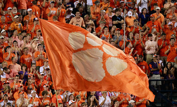 AUBURN, AL - SEPTEMBER 18:  Cheerleaders of the Clemson Tigers wave their flag during the game against the Auburn Tigers at Jordan-Hare Stadium on September 18, 2010 in Auburn, Alabama.  (Photo by Kevin C. Cox/Getty Images)
