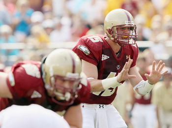 CHESTNUT HILL, MA - SEPTEMBER 25:  Dave Shinskie #15 of the Boston College Eagles calls out the play late in the second quarter against the Virginia Tech Hokies on September 25, 2010 at Alumni Stadium in Chestnut Hill, Massachusetts.  (Photo by Elsa/Getty