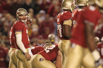 TALLAHASSEE, FL - NOVEMBER 27:  Christian Ponder #7 of the Florida State Seminoles looks for a play from the sidelines during a game against the Florida Gators at Doak Campbell Stadium on November 27, 2010 in Tallahassee, Florida.  (Photo by Mike Ehrmann/