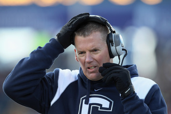 EAST HARTFORD, CT - NOVEMBER 27:  Head coach Randy Edsall of the Connecticut Huskies directs his players in the fourth quarter against the Cincinnati Bearcats on November 27, 2010 at Rentschler Field in East Hartford, Connecticut. The Huskies defeated the