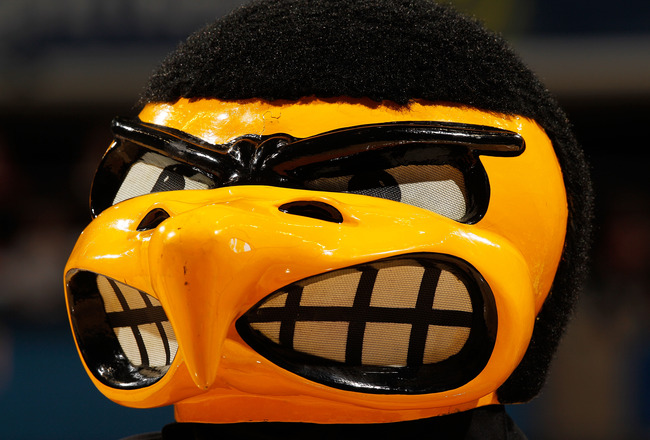 INDIANAPOLIS - MARCH 11:  'Herky', mascot of the Iowa Hawkeyes performs during the game against the Michigan Wolverines in the first round of the Big Ten Men's Basketball Tournament at Conseco Fieldhouse on March 11, 2010 in Indianapolis, Indiana.  (Photo