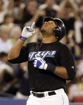 TORONTO - JUNE 6: Vernon Wells #10 of the Toronto Blue Jays celebrates his home run against the New York Yankees at the Rogers Centre June 6, 2010 in Toronto, Ontario, Canada. (Photo by Abelimages/Getty Images)