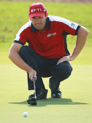 DUBAI, UNITED ARAB EMIRATES - NOVEMBER 24:  Padraig Harrington of Ireland in action during a practice round prior to the start of the Dubai World Championship on the Earth Course, Jumeirah Golf Estates on November 24, 2010 in Dubai, United Arab Emirates.