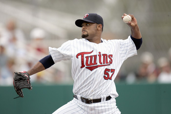 FT. MYERS, FL - MARCH 4: Johan Santana #57 of the Minnesota Twins delivers the pitch during a Spring Training game against the Boston Red Sox on March 4, 2007 at Hammond Stadium in Ft. Myers, Florida. The Red Sox defeated the Twins 6-1. (Photo by Gregory
