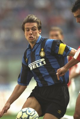 27 Aug 1995:  Nicola Berti of Inter Milan in action during a Serie A match against Vincenza at the San Siro Stadium in Milan, Italy. Inter Milan won the match 1-0. \ Mandatory Credit: Mark  Thompson/Allsport