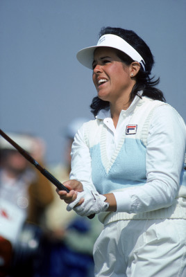 1984:  Nancy Lopez of the USA watches the flight of the ball after her swing in 1984.  (Photo by David Cannon/Getty Images)
