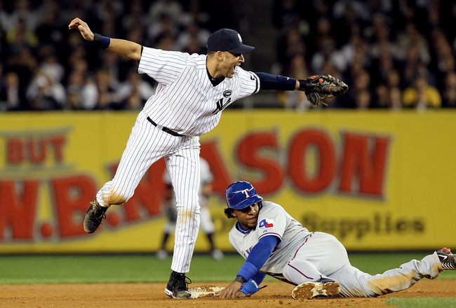 NEW YORK - OCTOBER 20:  Derek Jeter #2 of the New York Yankees reacts after tagging out Elvis Andrus #1 of the Texas Rangers on a pickoff play at second base in the top of the seventh inninng of Game Five of the ALCS during the 2010 MLB Playoffs at Yankee