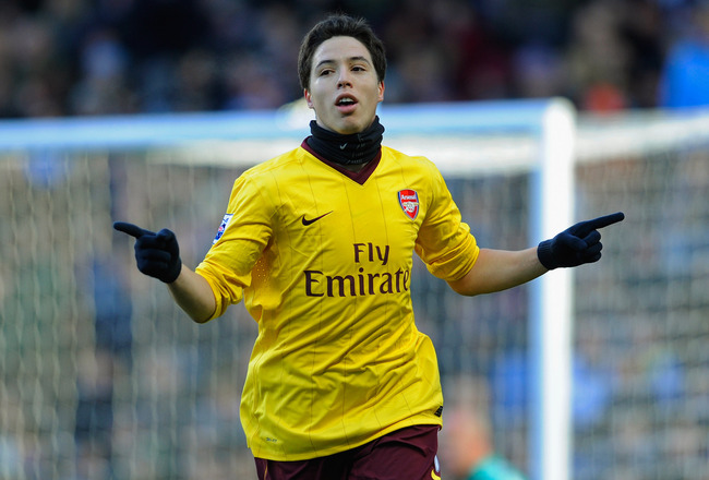 BIRMINGHAM, ENGLAND - NOVEMBER 27: Samir Nasri of Arsenal celebrates scoring to make it 2-0 during the Barclays Premier League match between Aston Villa and Arsenal at Villa Park on November 27, 2010 in Birmingham, England.  (Photo by Michael Regan/Getty