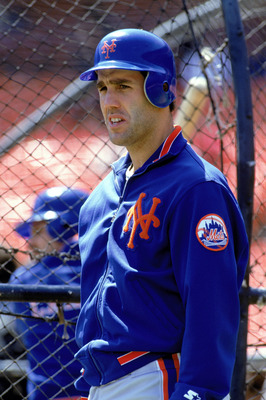 1990:  Mike Marshall of the New York Mets looks on during batting practice before a game in the 1990 season. (Photo by: Otto Greule Jr/Getty Images)