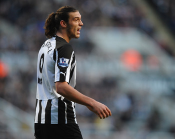 NEWCASTLE UPON TYNE, ENGLAND - NOVEMBER 13:  Andy Carroll of Newcastle United looks on during the Barclays Premier League match between Newcastle United and Fulham at St James' Park on November 13, 2010 in Newcastle upon Tyne, England.  (Photo by Laurence