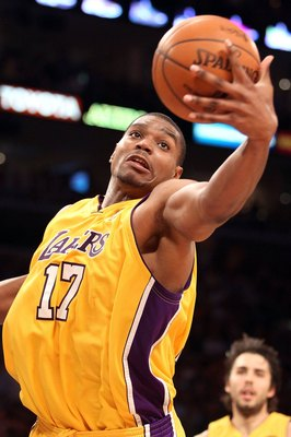 LOS ANGELES, CA - JUNE 17:  Andrew Bynum #17 of the Los Angeles Lakers rebounds the ball in Game Seven of the 2010 NBA Finals against the Boston Celtics at Staples Center on June 17, 2010 in Los Angeles, California.  NOTE TO USER: User expressly acknowled