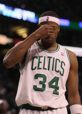 BOSTON - NOVEMBER 24:  Paul Pierce #34 of the Boston Celtics reacts in the fourth quarter against the New Jersey Nets on November 24, 2010 at the TD Garden in Boston, Massachusetts. The Celtics defeated the nets 89-83. NOTE TO USER: User expressly acknowl