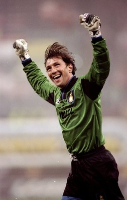 13 Dec 1993:  Inter Milan goalkeeper Walter Zenga celebrates during the UEFA Cup third round second leg match against Norwich City at the Giuseppe Meazza Stadium in San Siro, Milan, Italy. Inter Milan won the match 1-0. \ Mandatory Credit: Clive  Brunskil