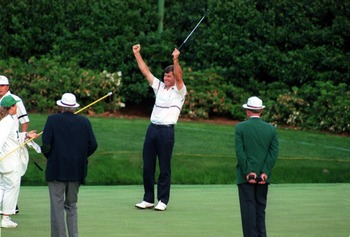 APR 1989:  NICK FALDO OF ENGLAND CELEBRATING AFTER VICTORY OVER RAYMOND FLOYD OF USA IN A PLAYOFF FOR THE 1990 US MASTERS CHAMPIONSHIP AT AUGUSTA NATIONAL. Mandatory Credit: David Cannon/ALLSPORT