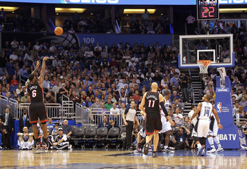 ORLANDO, FL - NOVEMBER 24:  LeBron James #6 of the Miami Heat shootas a jumpshot during a game against the Orlando Magic at Amway Arena on November 24, 2010 in Orlando, Florida. NOTE TO USER: User expressly acknowledges and agrees that, by downloading and