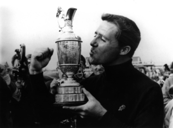 14 Jul 1968:  Gary Player of South Africa lifts the Claret Jug after victory in the British Open at Carnoustie, Scotland.  Mandatory Credit: AllsportUK/Allsport